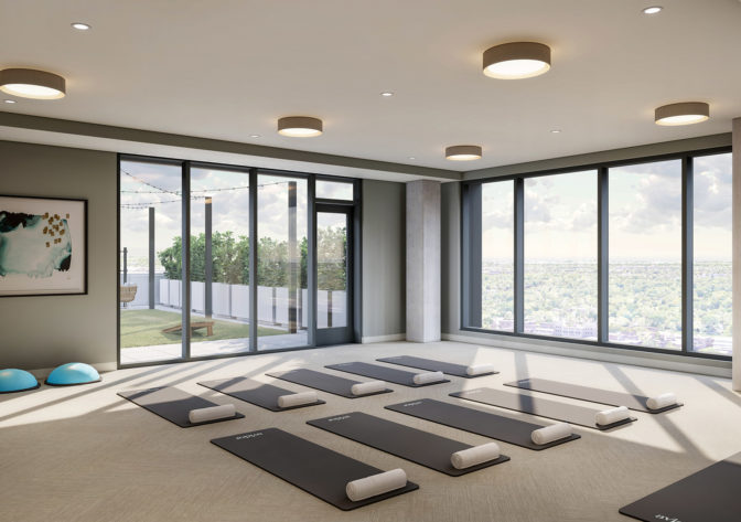 fitness and yoga room