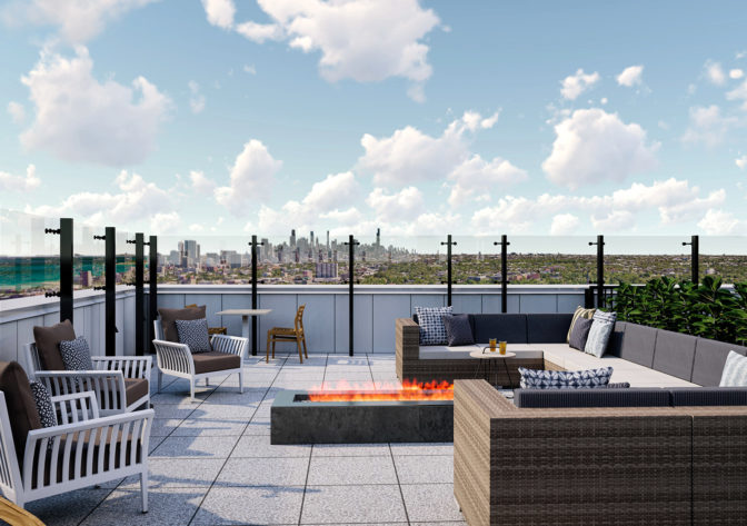 Rooftop lounge and fire pit